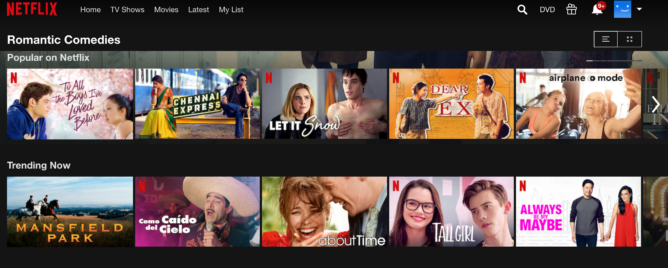 Screen shot of Netflix's interface showing various romantic comedy films listed.